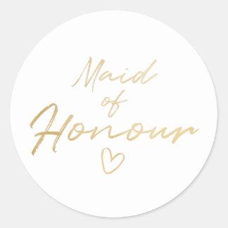 Maid of Honour - Gold faux foil sticker