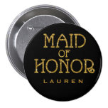 Maid of Honour Gold Faux Glitter Name Tag Button