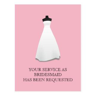 Maid of Honour or Bridesmaid Postcard Invite