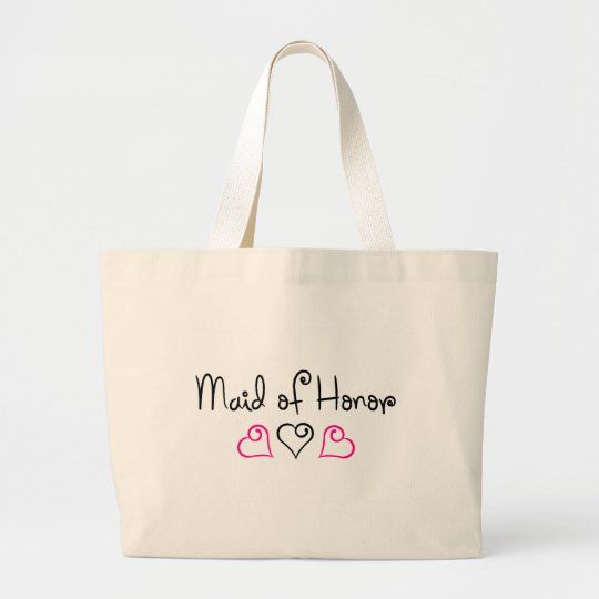 Maid Of Honour Pink and Black Hearts Large Tote Bag