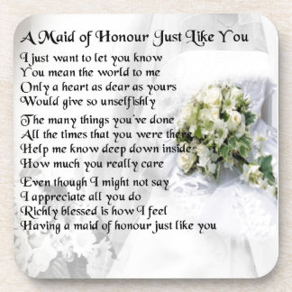 maid of honour poem - Wedding Bouquet design Drink Coasters