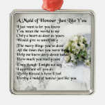 maid of honour poem - Wedding Bouquet design Silver-Colored Square Ornament