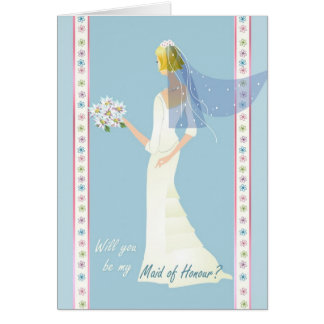 Maid of Honour Request - in blue. Card