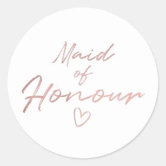 Maid of Honour - Rose Gold faux foil sticker