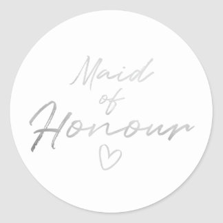 Maid of Honour - Silver faux foil sticker