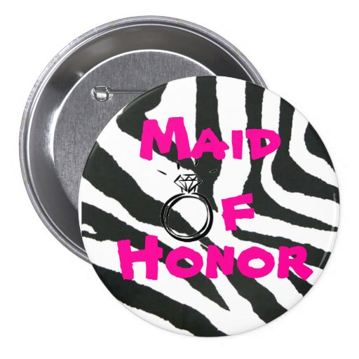Maid of Honour Zebra 3 Inch Round Button