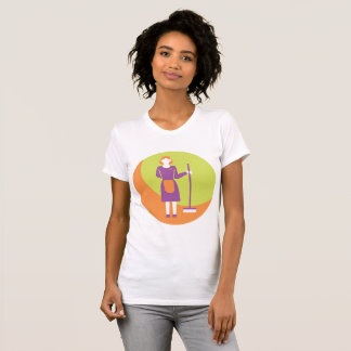 Maid With A Broom Womens T-Shirt