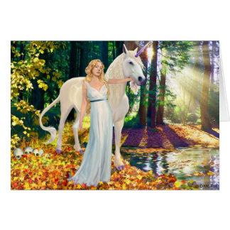 Maiden and Unicorne Healing Greeting Card