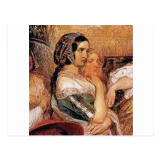 maiden in bonnet postcard