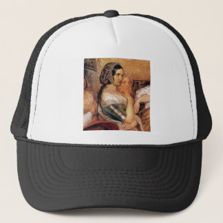 maiden in bonnet trucker hat