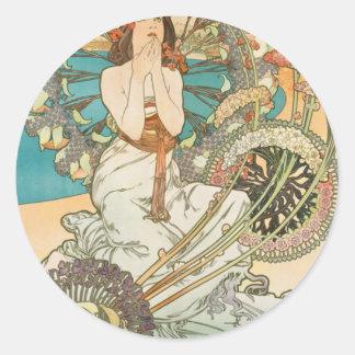Maiden in Prayer Classic Round Sticker