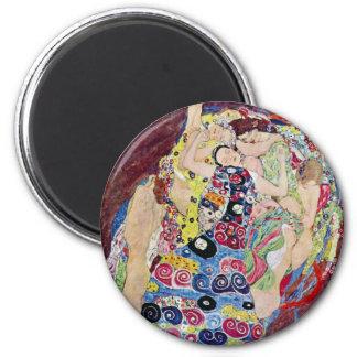 Maiden (Virgin), Gustav Klimt, Vintage Art Nouveau 2 Inch Round Magnet