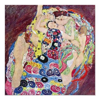 "Maiden (Virgin), Gustav Klimt, Vintage Art Nouveau 5.25"" Square Invitation Card"