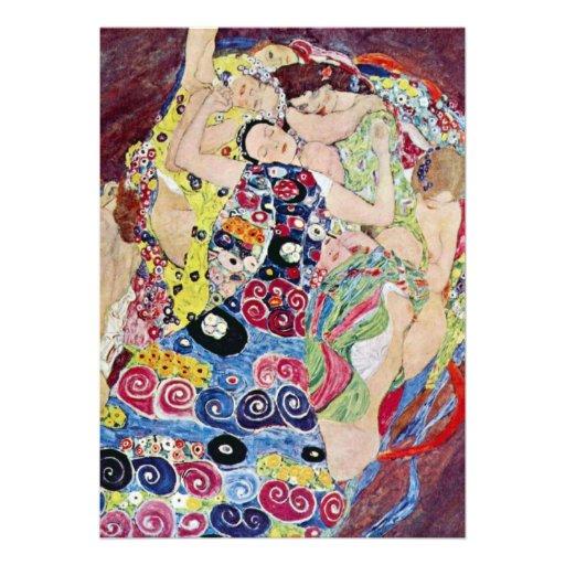 Maiden (Virgin), Gustav Klimt, Vintage Art Nouveau Custom Invitation