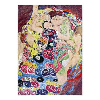 "Maiden (Virgin), Gustav Klimt, Vintage Art Nouveau 5"" X 7"" Invitation Card"