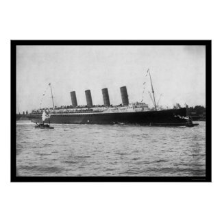Maiden Voyage of the Lusitania 1907 Poster
