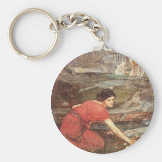 Maidens Picking Flowers Oil Painting Basic Round Button Keychain