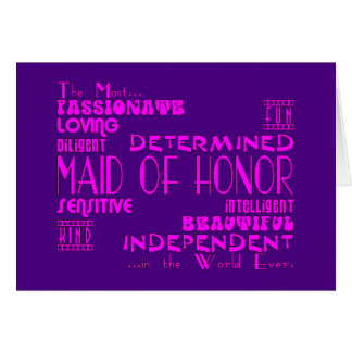 Maids of Honor Wedding Party Favors : Qualities Note Card