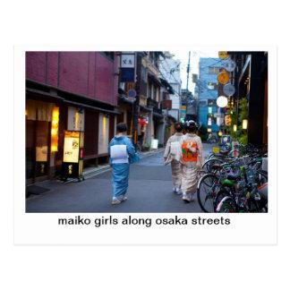 Maiko Girls along osaka streets Postcard