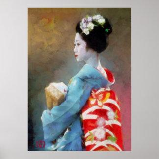 Maiko in blue kimono poster