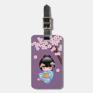 Maiko Kokeshi Doll - Blue Kimono Geisha Girl Luggage Tag