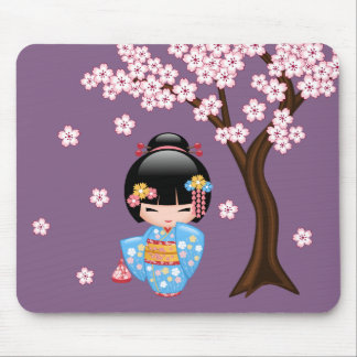 Maiko Kokeshi Doll - Blue Kimono Geisha Girl Mouse Pad