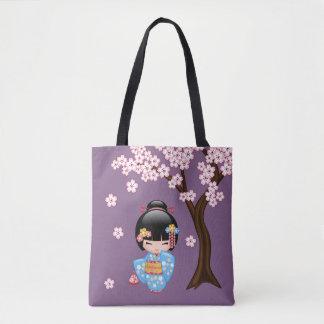 Maiko Kokeshi Doll - Blue Kimono Geisha Girl Tote Bag