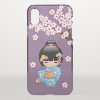Maiko Kokeshi Doll - Blue Kimono Geisha on Purple iPhone X Case