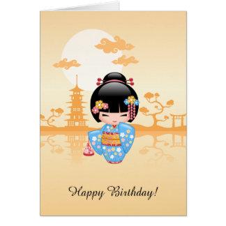 Maiko Kokeshi Doll - Cute Geisha Birthday Card