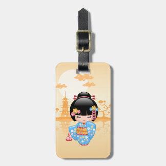 Maiko Kokeshi Doll - Cute Japanese Geisha Girl Luggage Tag