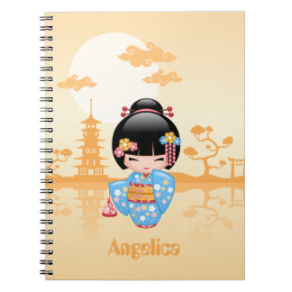 Maiko Kokeshi Doll - Cute Japanese Geisha Girl Notebook