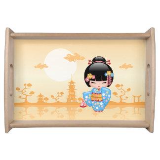 Maiko Kokeshi Doll - Cute Japanese Geisha Girl Serving Tray