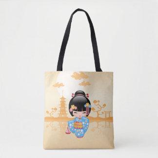 Maiko Kokeshi Doll - Cute Japanese Geisha Girl Tote Bag