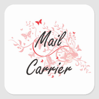 Mail Carrier Artistic Job Design with Butterflies Square Sticker