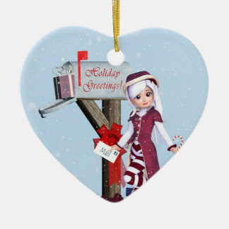 Mail Carrier Elf  Mailbox and Gifts Ornament