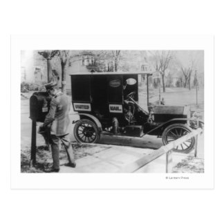 "Mail Carrier with ""United Mail"" Automobile Postcard"