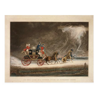 Mail Coach in a Storm, 1827. Postcard