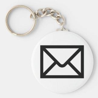 Mail Envelope Basic Round Button Keychain