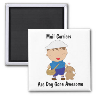 Mail Man Mail Carrier Cute Brown Dog Personalize Magnet