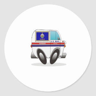 Mail Truck KANSAS Round Stickers