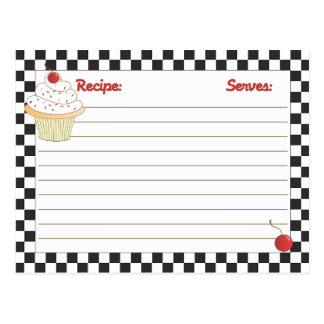 Mailable Cherry Cupcake Recipe Cards Postcard