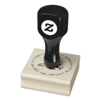 Mailbox Art Return Address Rounded Text Rubber Stamp