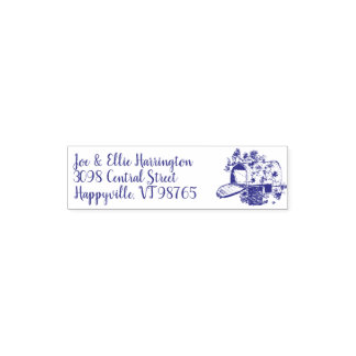 Mailbox Art Reusable Name and Address Rubber Stamp