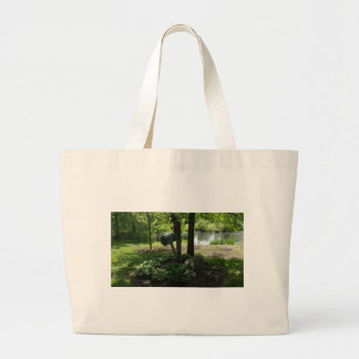 Mailbox by the pond large tote bag