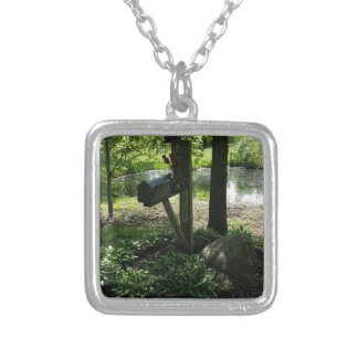 Mailbox by the pond silver plated necklace