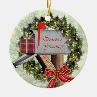 Mailbox,  Wreath and Gift  Mailman Round Ornament