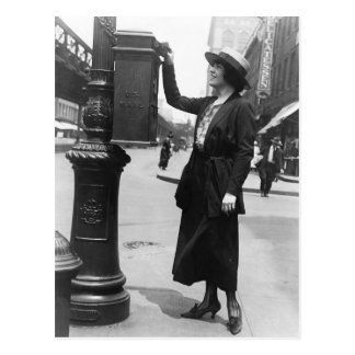 Mailing a letter in New York City Postcard