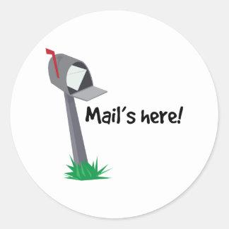 Mails Here Classic Round Sticker