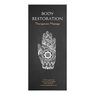 Main 4 de tatouage de Lotus de henné de thérapeute Carte Double Customisable