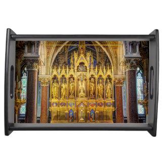 Main Altar In Votivkirche, Vienna Austria Serving Tray